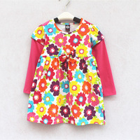 kids clothes 2014 new Autumn girls clothes baby girls dress Long-sleeved Flowers girl dresses children clothing High quality