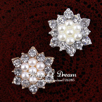 (30pcs/lot) 17MM EXCELLENT QUALITY Fashion Alloy Rhinestone Crystal Button With Pearls For Chidlren Hair Flower Accessories