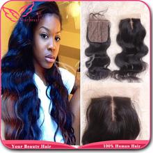 Cheap 4*4 Brazilian Silk Base Closure Body Wave 100% Human Hair Free Middle 3 Part Silk Top Lace Closure Bleached Knots Freeship(China (Mainland))