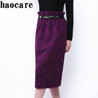 Saias femininas women plus size skirts 2014 new autumn winter purple floral print pencil skirt high waist midi skirt DF14L004