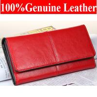 New Arrival  Women 's Vintage Elegant  Genuine  Leather Wallet  Purse  Day Clutch Bag M501