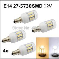 4pcs E14 4W  27LEDs SMD 5730 LED Corn Bulb Lamp With Transparent Corn AC DC 12V 24V Warm white/Cool white led lighting