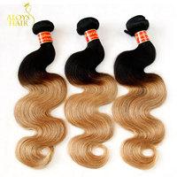 Ombre Hair Extensions 7A Brazilian Virgin Hair Body Wave 3Pcs Two Tone Black Blonde 1B/27# Aloys Human Hair Weaves Tangle Free