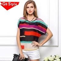 Casual fashion blusas femininas 2015, Fan children loose big yards ladies perspective irregular colorful striped chiffon shirt s
