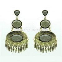 2014 fashion design stone long tassel pearl earrings for women retro vintage earing free shipping