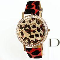 Free shipping high quality women watches brand 2014 quartz fashion luxury female wristwatches leopard print PU leather hot sale