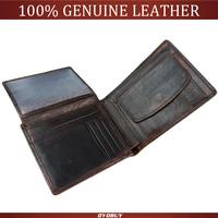Vintage Casual Men wallets Genuine Leather Oil Wax Leather Cowhide Men Short Bifold multi-function card holder wallet purse