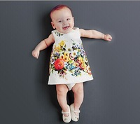 2014 new autumn and winter children clothing girls dress sleeveless vest dress floral Brand 2-8T high quality designer baby