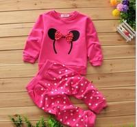 Baby girl kids cotton Minnie cartoon clothing set  Baby girl winter clothes set 2 pcs Long sleeve hoodies + polka dots pants