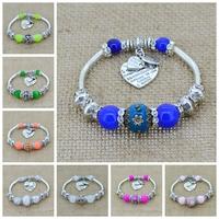 Crystal Bracelet Bangles Antique Silver European Bead Love Charm Glass Beads Strand Bracelets For 2014 Women Men Fashion jewelry