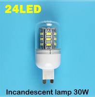 G9 24LEDS SMD 5730 (=Incandescent lamp 30W) LED Corn Bulb 220V - 250V Warm white cold white LED Lights
