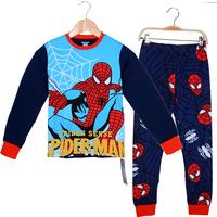Retail 5 stars 100% cotton pajamas for 8-12 years old kid long sleeve sleepwear boys pajamas spider-man pajamas good quality