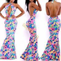 Sleeveless Dress Women cocktail party dress Sexy Beautiful Floral Print Maxi Dress Bow Elastic Block Bodycon b6 SV006802