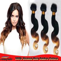 "Free Shipping New Stylish 6a Virgin Hair  Brazilian Body Wave  Three Tone 1B/4#/27 Ombre Brazilian Hair Extensions Weave 12""-26"""