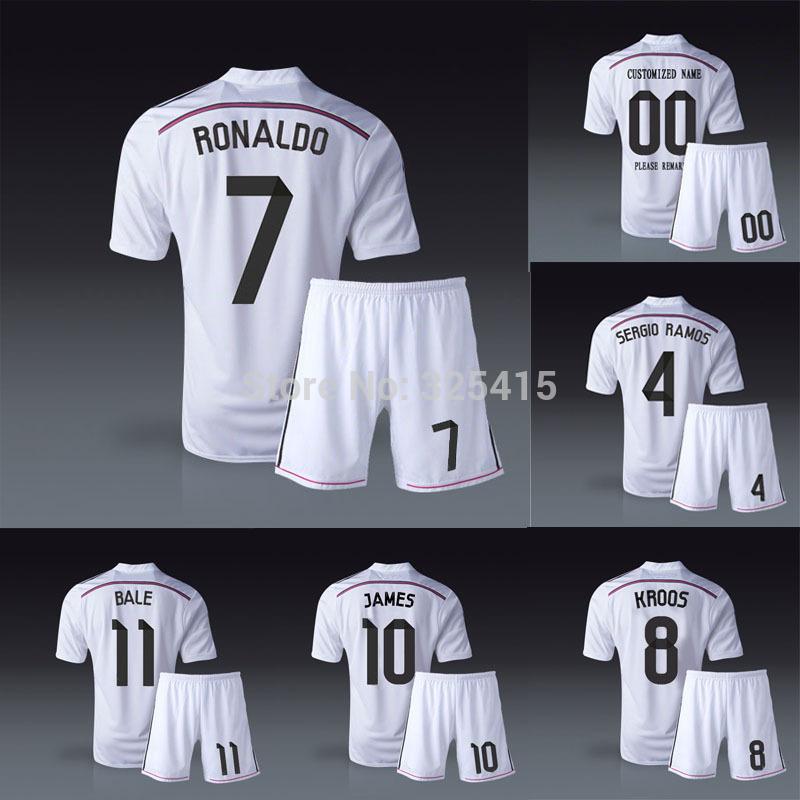 Real madrid 14 15 Home white soccer uniforms football kits jersey toni kroos cristiano Ronaldo James Rodriguez sergio ramos bale(China (Mainland))