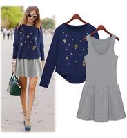 S-2XL free shipping  fashion Women's loose long  sleeve Sweatshirts twinset vest   XGJ001