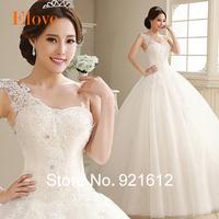 2014 Romantic Casamento Mariage Cheap Vestido De Novia Ball Gowns Bridal Sexy Fashionable One Shoulder Lace Wedding Dress WDE35