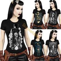 New Hot! Punk Style Digital Printed Short-Sleeve T-shirt Tees Tops 2014 Women Skull Print Funny Cool 3D Retro Shirt b14 SV001088