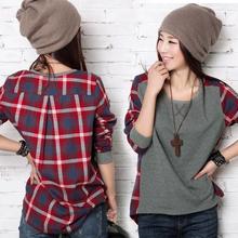 Hot Sale Moda Feminina New 2014 Camiseta Moda manga comprida xadrez Bottoming shirt das mulheres camisola com capuz Feminino Tamanho solto Blusa(China (Mainland))