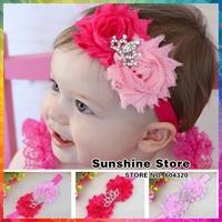 baby headband flower rhinestone tiara crown hair bows elastic band Newborn Toddler  bow rubber bandstiara #8w0035 10pcs/lot