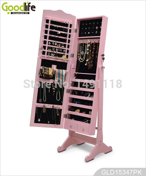 Atacado - Madeira Full-Length armário de jóias espelho do armário Móveis para Sala Made In China ( EUA armazém )(China (Mainland))