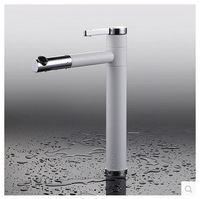 360 Rotatable Bathroom Sink  Basin Faucet  White Painting Mixer Tap With Swivel Spout OK-6663