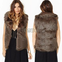 Drop Shipping New 2014 Women/Lady Winter Coats Vintage Fur Outwear Faux Woolly Long Vest Coat sleeveless Jacket b4 SV006954