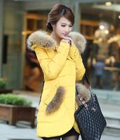 2014 new fashion Korean Slim thin long section raccoon Nagymaros collar down jacket women NDZ109 Y9W