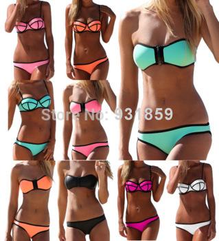 2015 горячая распродажа triangl неопрена бикини Superfly купальник молния неоновая низ неопрена купальники для женщин XS-L