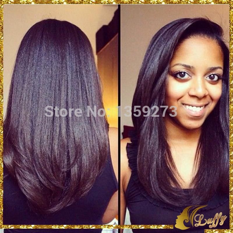 150Density Light Yaki Straight Full Wig Lace Front Wig Glueless1B 2# 3# 4# Brazilian Virgin Human Hair For Black Women(China (Mainland))