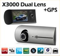 2014 New X3000 Dual Lens Car DVR Recorder Camera GPS G-Sensor 2.7 Inch LCD 140 Degree View Angle Drop (CDC-16)