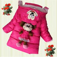 brand new 2014 children winter padded coat kids cotton jackets fashion cartoon mice toy warm thicken down jacket for girls Ne045