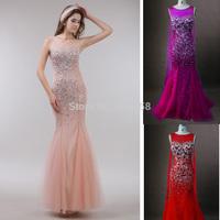 Real Sample Sparkle Crystal Beaded Open Back Mermaid Prom Dresses 2014