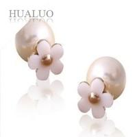 new arrival elegant flower cheap pearl stud earrings for women #E1292