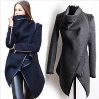 2014 Women Autumn Winter Coats Fashion Trench Woolen Long Sleeve Overcoat Asymmetric Jacket Wool Coat Size S-XXL