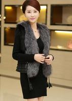 Free Shipping Fashion Womens Outerwear Jacket Faux Fur Tops Sleeveless Vest Waistcoat Size M-XXXL [3 70-6211]