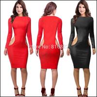 Black Red Sexy Women Dress Long Sleeve Autumn Dress Bodycon Pary Club Dresses Wholesale Casual Dress SML Vestidos