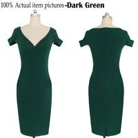 Elegant Fashion Ladies' Evening Party Dresses Solid V-neck Knee-length Slim Stretchy Bodycon Women Summer Pencil Dresses