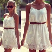 New 2014 Women Summer Fashion Casual Dresses Desigual Pure White Mini Dress Lace Vestidos Free Shipping