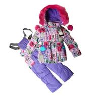 2014 New Children's Winter Clothing Set baby Girl Ski Suit Windproof Down Jacket Warm coat print Jacket+Bib Pants+Wool Vest