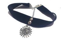 [Min. 6$] 2015 Leon Gothic Style Adjustable Sun&Moon Pendent Black Velvet Ribbon Choker&Heart Necklace