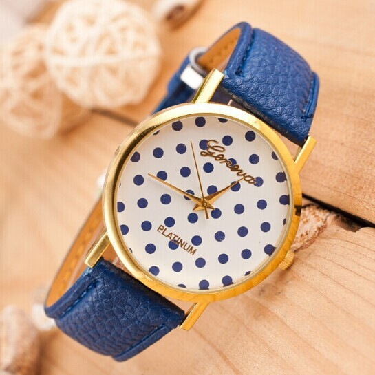 2014 new Alloy Fashion Casual Round Relogio watches women Geneva Dot Belt Wristwatches Like Cakes Quartz Couples watch Wholesale(China (Mainland))