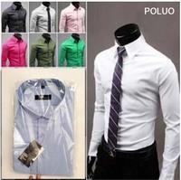 T1001 M-4XL 2014 PROMOTION Men casual shirts/blouse Candy color Mens Slim fit Long Sleeve dress Shirt Unique Neckline men camisa