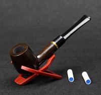 10 Tools Set Ebony Wood Smoking Pipe 9mm Filter 14.5cm Smoking Pipe Golden Ring Style Straight Smoking Pipe Set