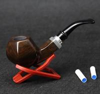 10 Tools Set Ebony Wood Smoking Pipe 14.8cm Hexagon Smoking Pipe Creative 9mm Filter Bent Smoking Pipe Set
