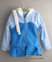 Snow Queen coat 2014 New  girls elsa Hoodies Elsa costume jacket clothing for children girls hoodies Fleece baby & kids coat