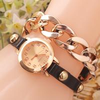 New 2014 Women Girls Ladies Graceful Lovely Metal Punk Chain Bracelet Watch Artificial Leather Quartz Wholesale Wristwatches