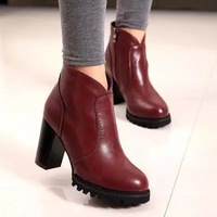 2014 Spring Fashion Thick Heel Platform High-Heeled Shoes Platform Women Boots Round Toe Zipper Vintage Fur Ankle Women Pumps