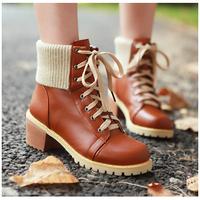 2014 NewWomens Girls Vintage Combat Punk Goth Lace Up Ankle Pu Leather Shoes Style Autumn Boots  Biker Boots SRXZ5018