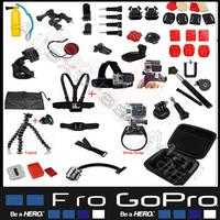 Sj5000 Gopro Accessories Go pro Hero 4 3 2 Hero3 Tripod Monopod Mount Helmet Selfie stick Floating Sj4000 Case Chest Head Strap
